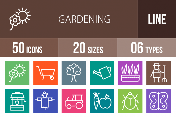 50 Gardening Line Multicolor B/G Icons