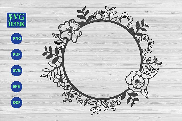 Circle frame svg, monogram frame dxf cut file