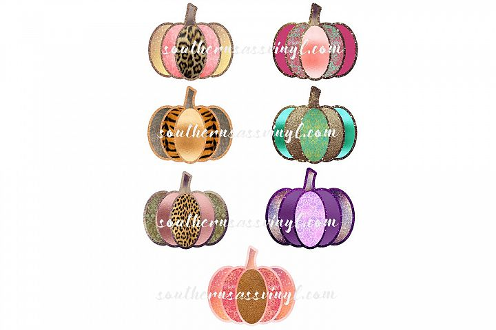 Glitter Shimmer Pumpkins Graphic Design Set of 7