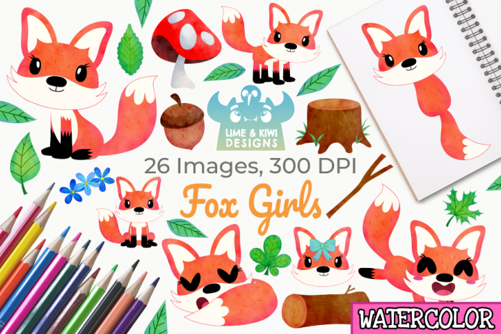 Fox Girls Watercolor Clipart, Instant Download Vector Art