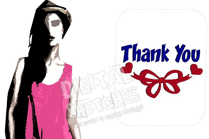 Thank You Saying Machine Embroidery Design 3 Sizes
