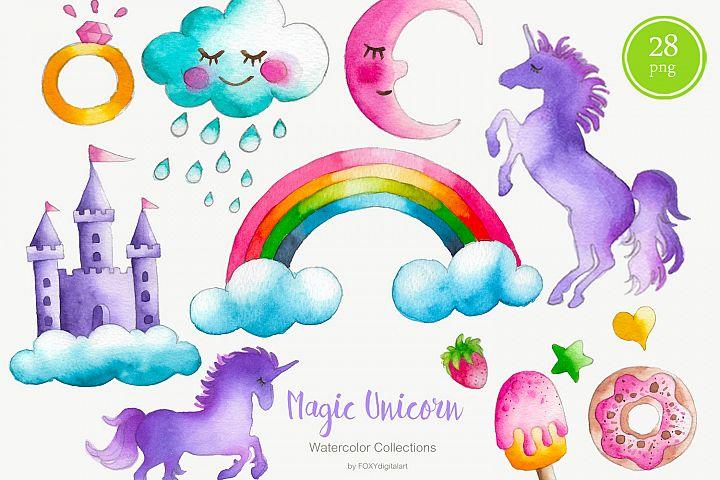 Watercolor Unicorn Clipart Unicorn Party Nursery Decor