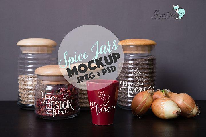 Spice Jars Mockup | PSD & JPG Mocku