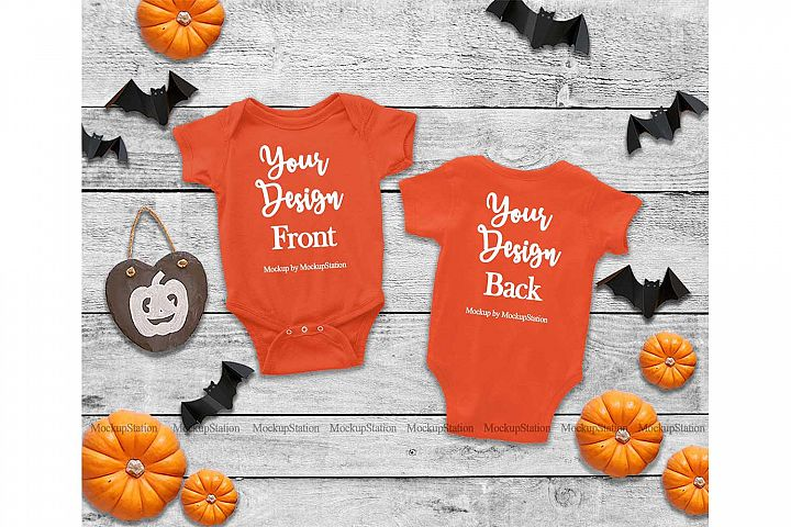 Baby Front & Back Orange Bodysuit Mockup, Halloween Mock Up