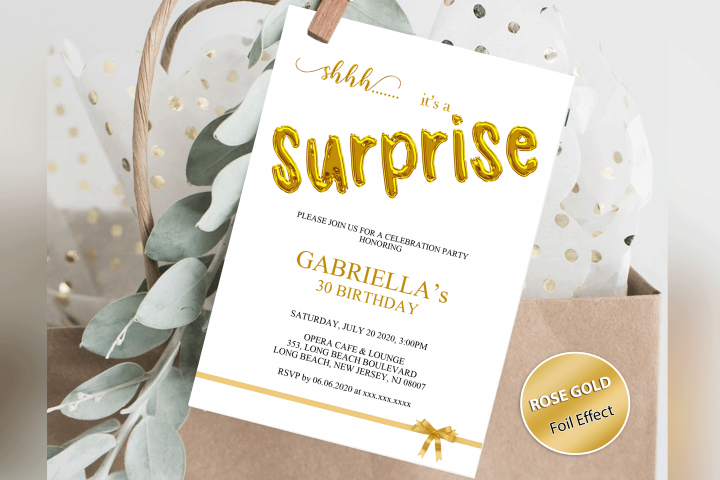 Any Age Surprise Birthday Invitation, Shhh its a Surprise