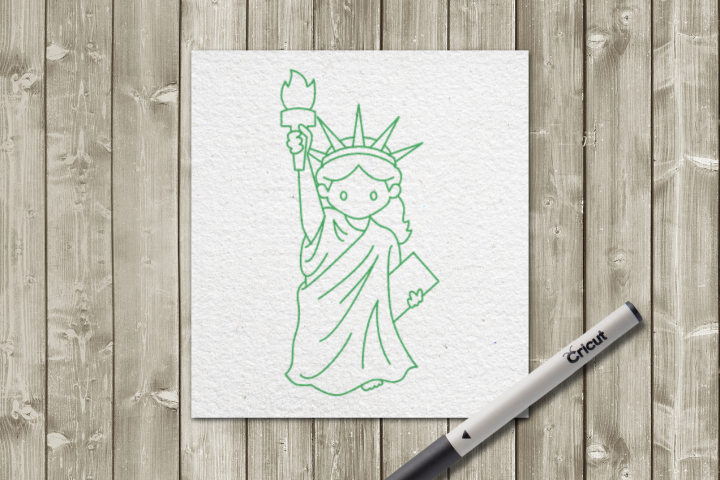 Statue of Liberty SKETCH Single Line Pen & Foil Quill SVG