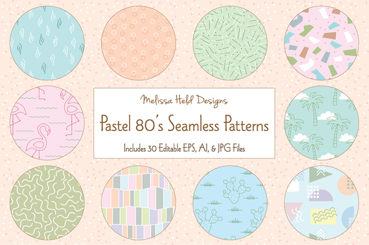 Pastel 80s Seamless Patterns
