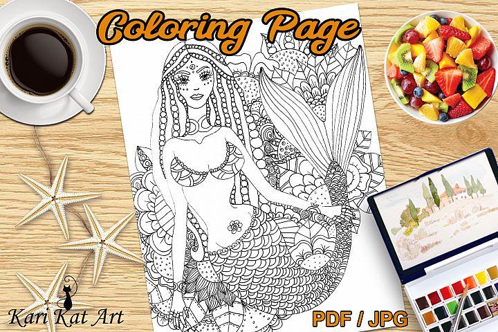 Mermaid Floral, printable coloring page, digital stamp, draw