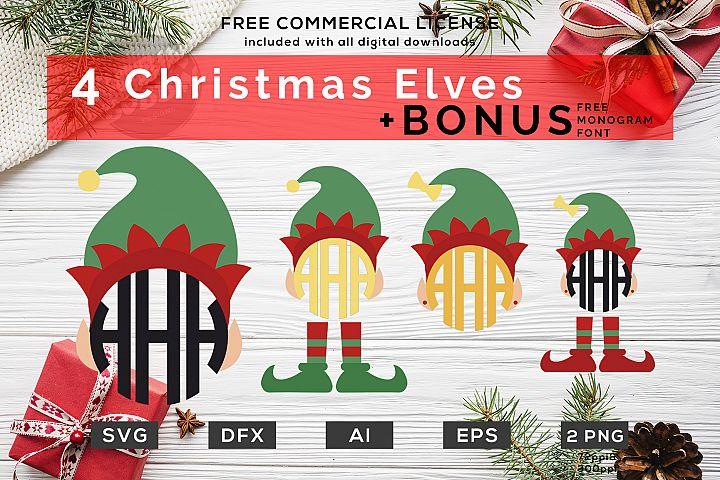 Christmas Elf SVG - Christmas Monogram SVG Bundle