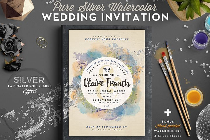 Pure Silver Watercolor Wedding Card example 1