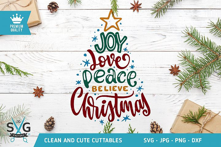 Christmas tree typography SVG cut file
