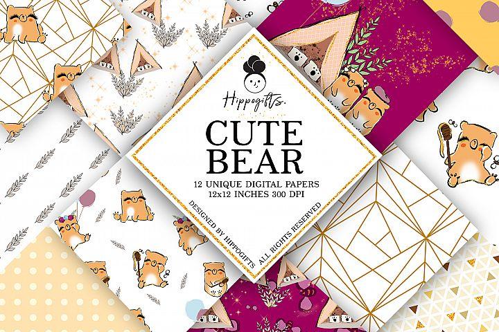 Cute bear pattern,camping digital paper,bear pattern