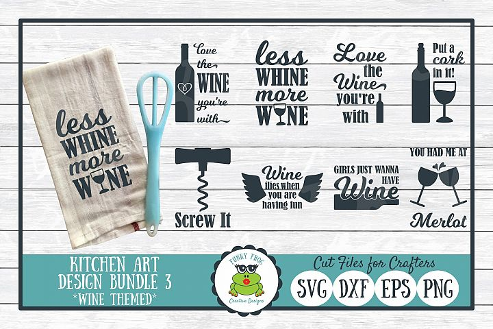 Kitchen Art Design Bundle 3, Wine Puns - SVG Cut Files