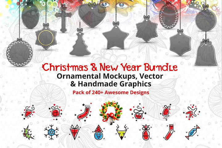 Christmas & New Year Bundle of Ornamental Mockups & Graphics