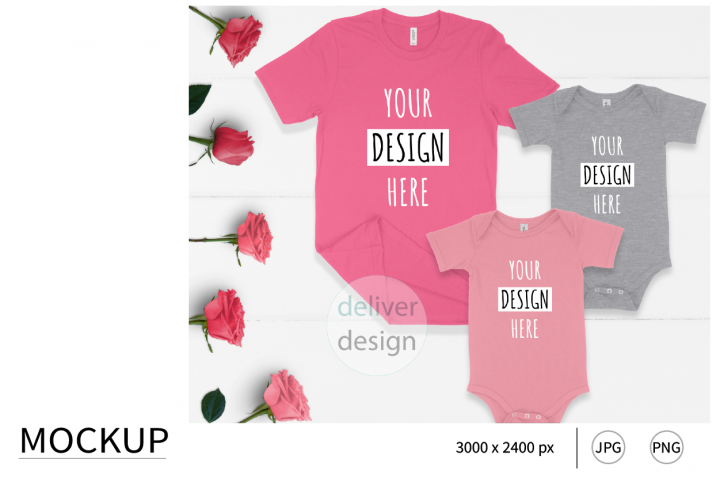Family Matching Outfit Mockup. Mom and kids. Flat Lay