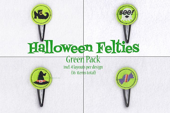 Halloween ITH Green Set of 4 Embroidery Designs