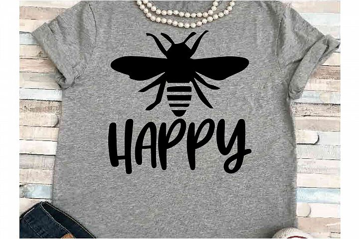 Positive SVG DXF JPEG Silhouette Cameo Cricut Bee happy bees