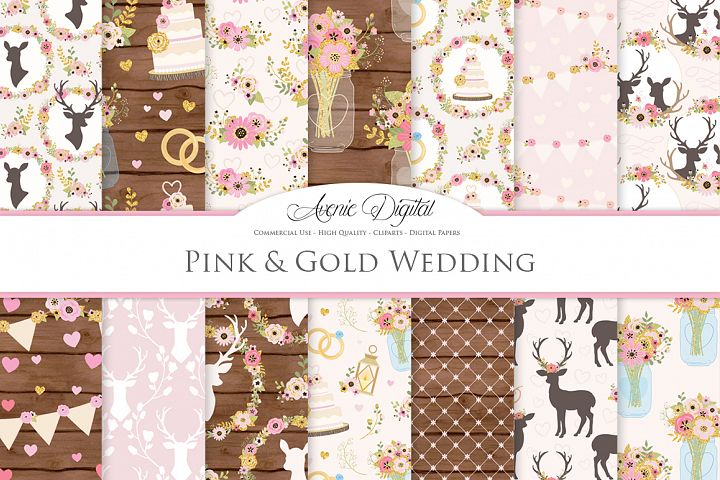 Pink and Gold Wedding Digital Paper - Gold and Pink Rustic Wedding Deer Seamless Patterns