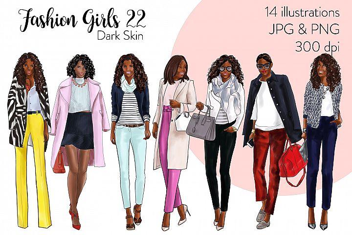 Fashion illustration clipart - Fashion Girls 22 - Dark Skin