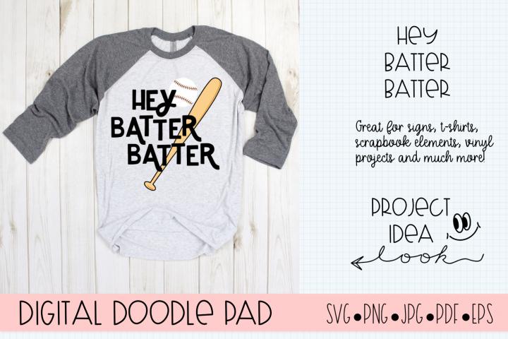 Baseball SVG | Hey Batter | Silhouette and Cricut Cut Files