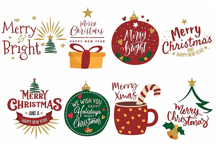 Merry Christmas greeting cards clip art. Christmas decor png