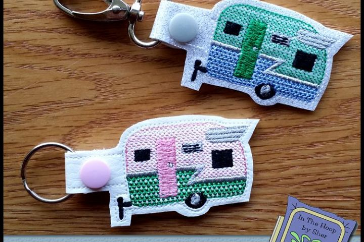 ITH Happy Camper Vinyl Key Fob - Embroidery Design