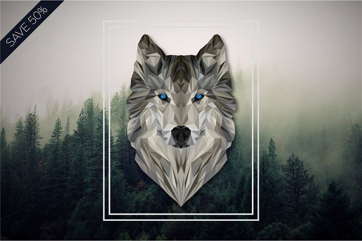 Geometric Wolf Illustration