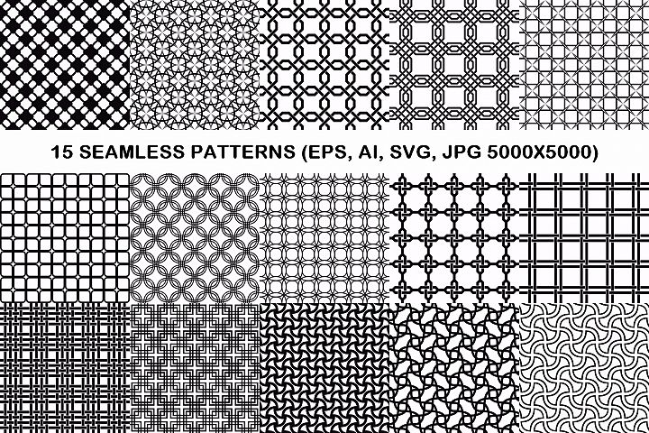 15 seamless grid patterns (EPS, AI, SVG, JPG 5000x5000)