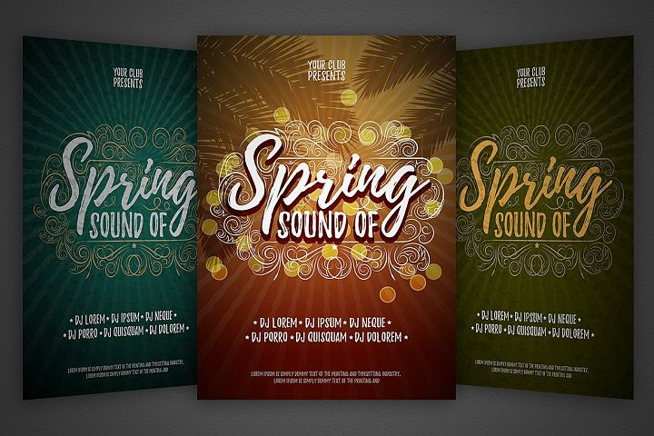Spring vector party flyer