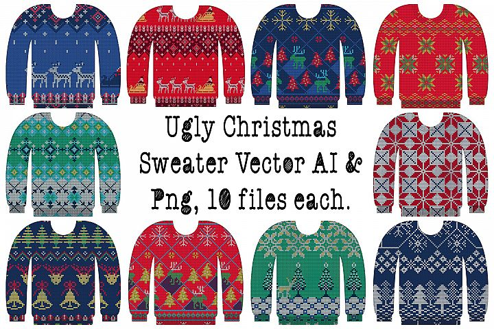 Ugly Christmas Sweater Vector AI & PNG