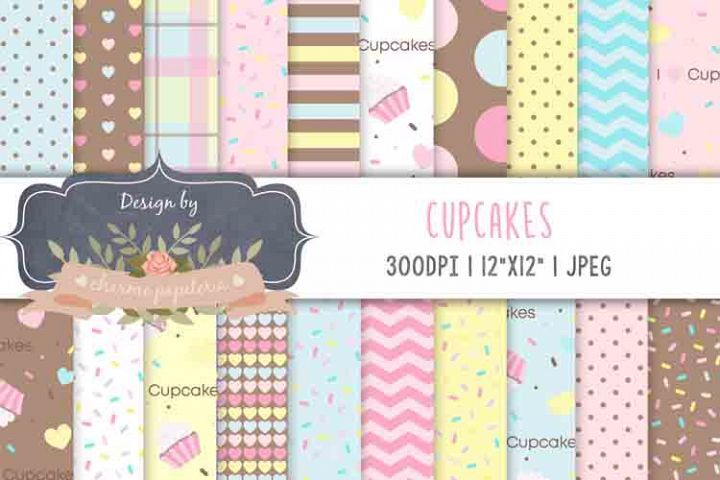 Cupcake digital paper Cupcakes Background sprinkles paper