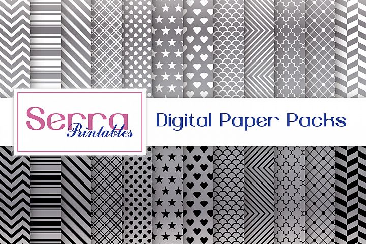Silver Basic Patterns Digital paper pack