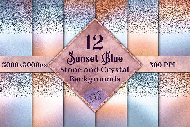 Sunset Blue Stone and Crystal Backgrounds - 12 Images