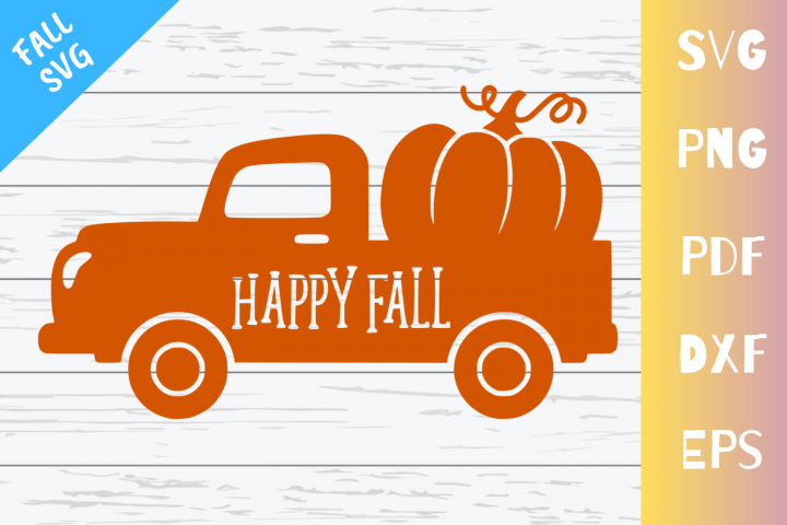 Old Vintage Fall Truck With Pumpkin|SVG|PNG|EPS|DXF|PDF