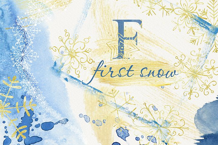 First snow. Watercolor set