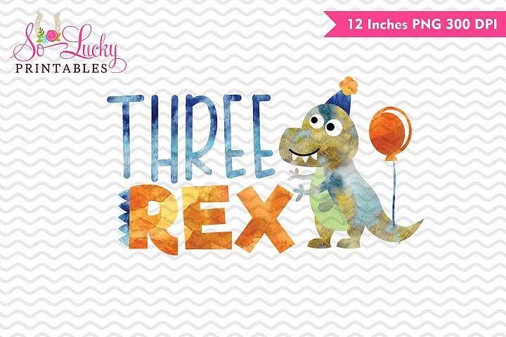 Three rex birthday watercolor sublimation design