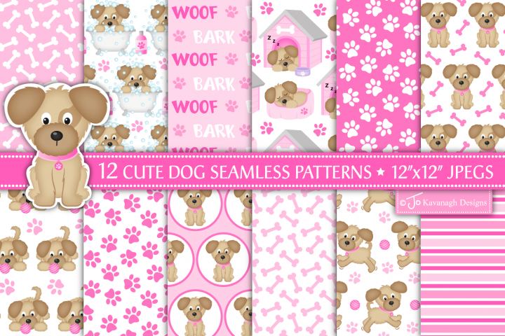 Dog digital papers, Dog seamless patterns, Cute dog -P41