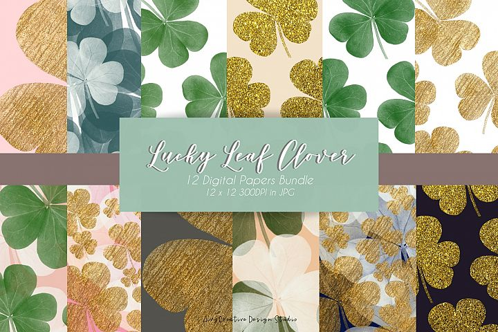 Gold and Green Design Lucky Leaf Clover Digital Papers