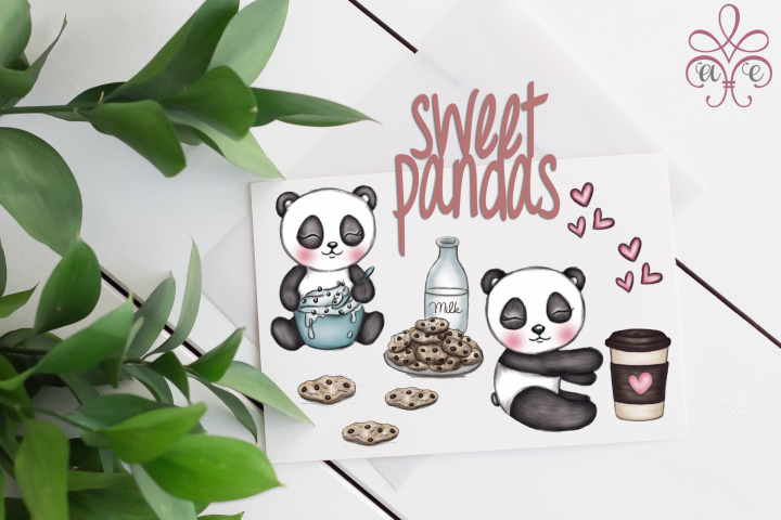 Sweet Pandas Clipart