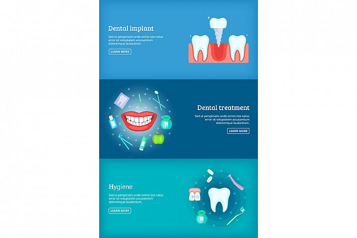 Dental clinic 3 cartoon banners set vector illustration