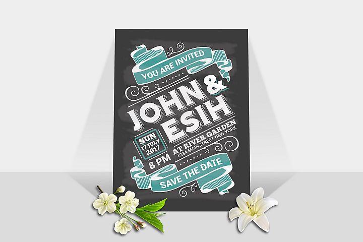 Wedding Invitation Chalk Board Style