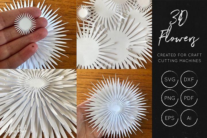 3D Flower SVG Cut Files - Flower SVG - Layered Flower DXF - Free Design of The Week Design 9