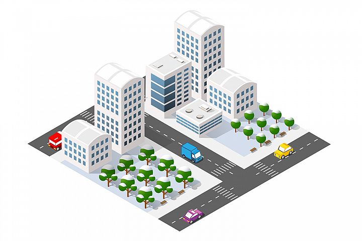 Winter city isometric with buildings