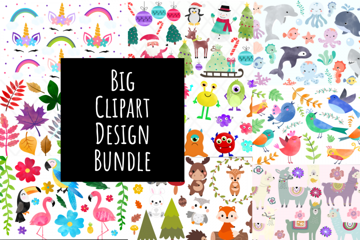 Bundle Clipart Watercolor Illustration Drawing Package