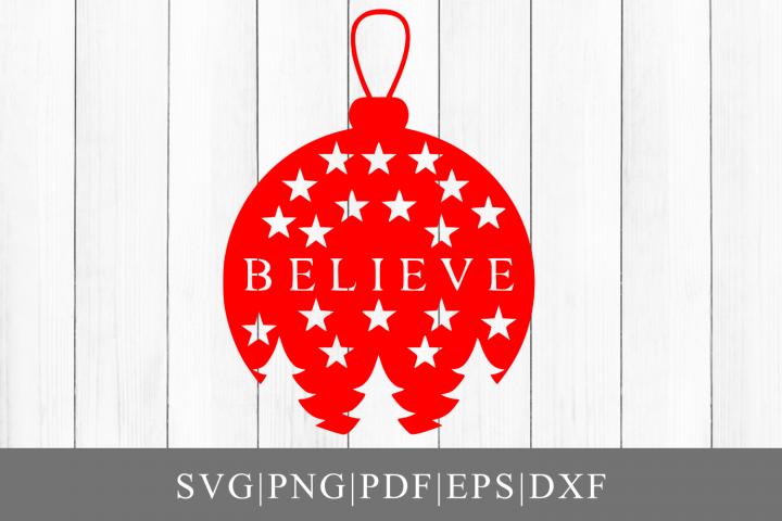 Christmas Believe Ornament SVG Cut File For Cricut