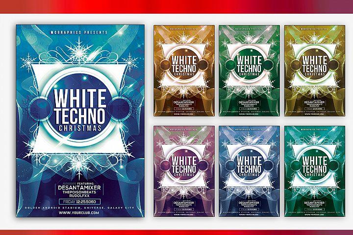 White Techno Christmas Photoshop Flyer Template