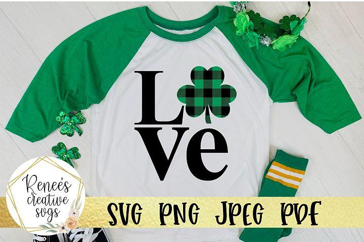 Shamrock Buffalo plaid love|St. Patricks Day| SVG File