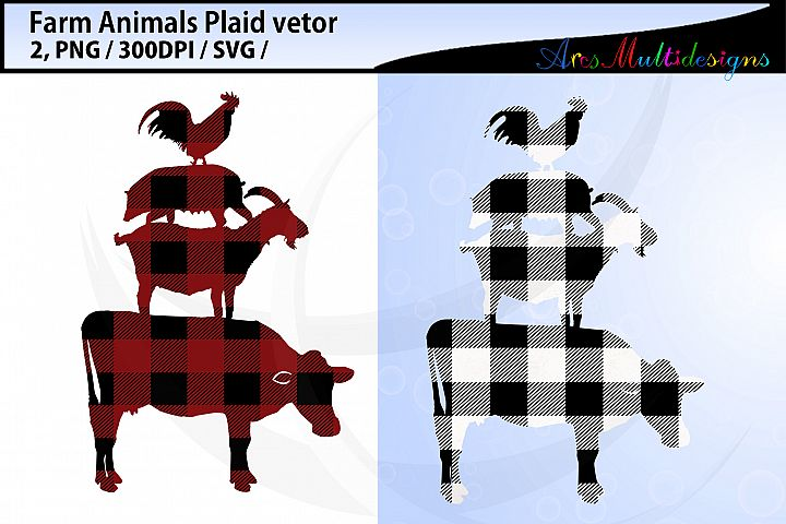 Plaid farm animal svg / plaid farm animal bundle vector