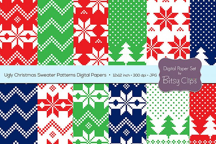 Ugly Christmas Sweater Patterns Digital Paper Set Commercial Use Christmas Scrapbook Paper Background Pattern