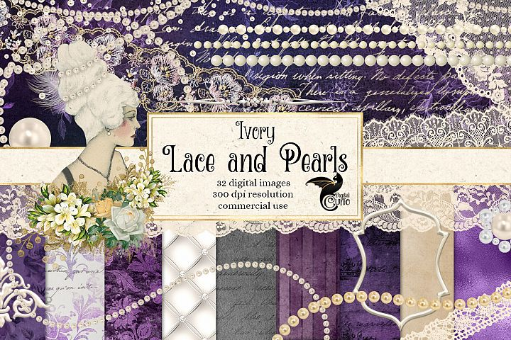 Ivory Lace and Pearls Digital Scrapbooking Kit